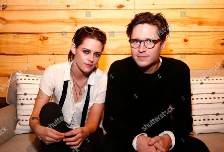 """Come Swim"""" director Kristen Stewart, left, and actor Josh Kaye hang out in the Indiewire Photo Studio at Chase Sapphire on Main, during the 2017 Sundance Film Festival, in Park City, Utah"""