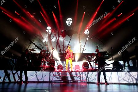 John Taylor, from left, Simon Le Bon, Nick Rhodes and Dom Brown of the band Duran Duran perform in concert at The Theater at MGM National Harbor, in Oxon Hill, MD