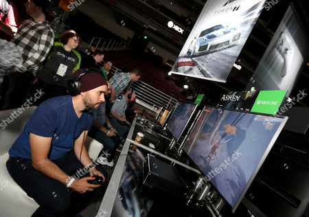 """Gamers play """"Ashen"""" at the Xbox Media Showcase at E3 2017 in Los Angeles on"""