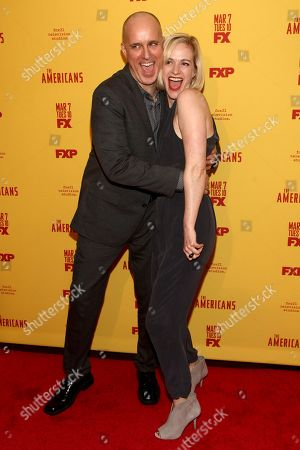 "Kelly AuCoin, left, and Suzy Jane Hunt, right, attend FX's ""The Americans"" season five premiere at the DGA Theater, in New York"