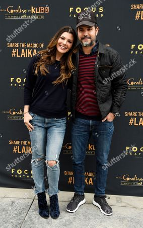 """Stock Picture of Actress Ali Landry and her husband Alejandro Gomez Monteverde pose together at the re-opening of """"From 'Coraline' to 'Kubo': A Magical LAIKA Experience,"""" at the Globe Theatre, in Universal City, Calif"""
