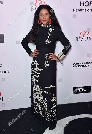 Gelila Puck arrives at Harper's BAZAAR's 150 Most Fashionable Women at the Sunset Tower Hotel, in Los Angeles