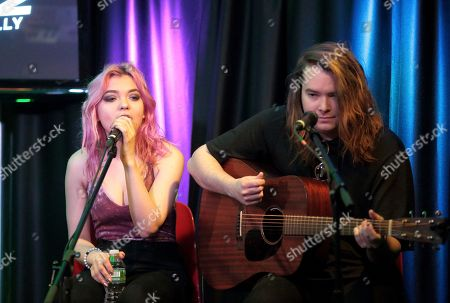 Rena Lovelis and Casey Moreta of the band Hey Violet visit the Q102 Performance Theater, in Philadelphia