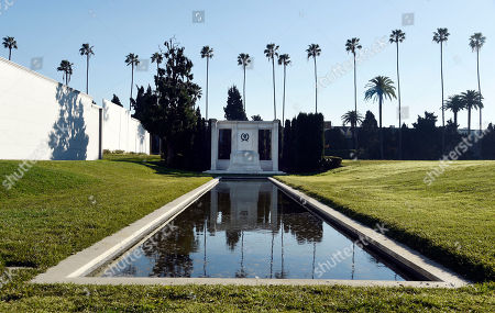 The burial site of Douglas Fairbanks and Douglas Fairbanks Jr. in L'Hermitage Gardens at Hollywood Forever Cemetery is pictured, in Los Angeles