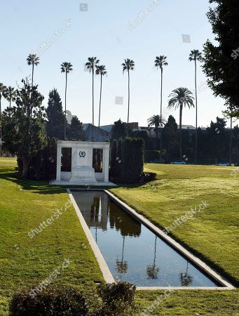 The gravesite of Douglas Fairbanks and Douglas Fairbanks Jr. is pictured at Hollywood Forever Cemetery, in Los Angeles