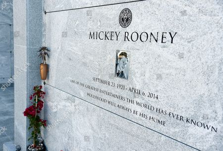 The gravestone of legendary actor Mickey Rooney is pictured at Hollywood Forever Cemetery, in Los Angeles