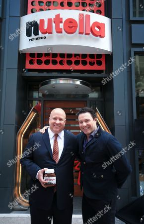 L-R) Paul Chibe, President and CEO, Ferrero North America with special guest Rocco DiSpirito at the first ever Nutella Cafe grand opening event on in Chicago, Ill