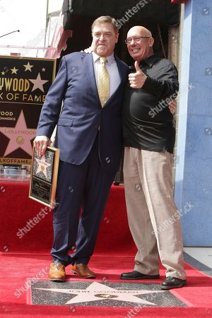 Stock Picture of John Goodman and Dann Florek seen at ceremony honoring John Goodman with a star on the Hollywood Walk of Fame, in Los Angeles