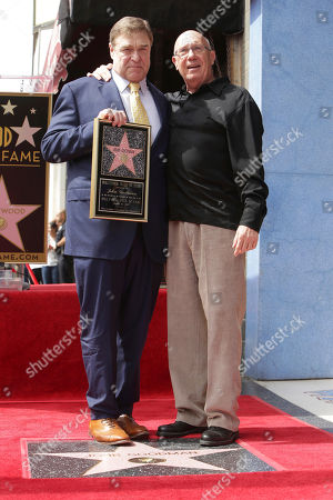 John Goodman and Dann Florek seen at ceremony honoring John Goodman with a star on the Hollywood Walk of Fame, in Los Angeles