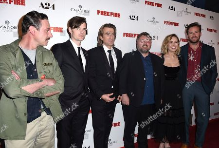"Enzo Cilenti, from left, Sam Riley, Sharlto Copley, Ben Wheatley, Brie Larson and Armie Hammer arrive at the Los Angeles premiere of ""Free Fire"" at ArcLight Hollywood on"