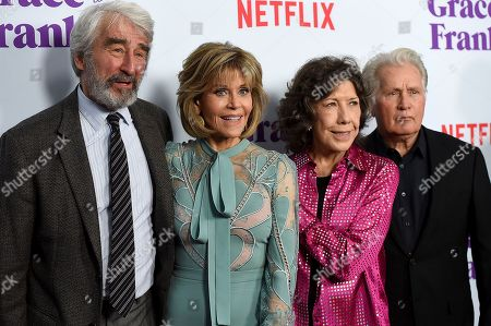 """From left, Sam Waterston, Jane Fonda, Lily Tomlin and Martin Sheen arrive at the Los Angeles premiere of """"Grace and Frankie"""" Season Three on Wednesday, Mar. 22 in Los Angeles"""