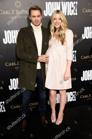 "Actor Chad Michael Murray poses with his wife Sarah Roemer at the premiere of the film ""John Wick: Chapter 2,"" at ArcLight Cinemas, in Los Angeles"