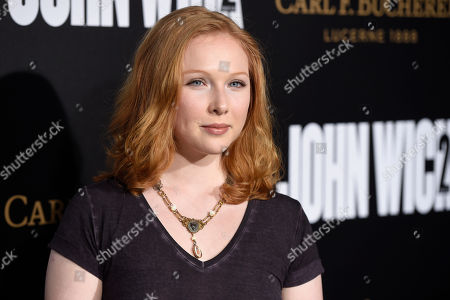 """Actress Molly Quinn poses at the premiere of the film """"John Wick: Chapter 2,"""" at ArcLight Cinemas, in Los Angeles"""