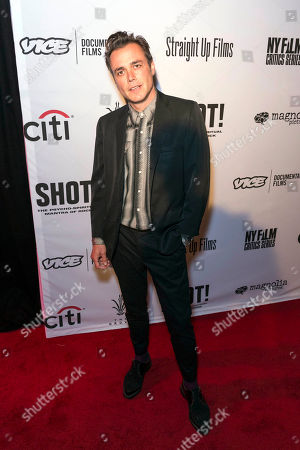 """Film Director Barnaby Clay arrives at the LA Premiere of """"SHOT! The Psycho-Spiritual Mantra of Rock"""" at the Pacific Theatres at The Grove, in Los Angeles"""