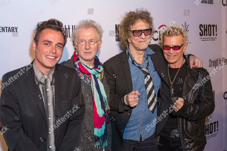 """Billy Idol, from right, Mick Rock, guest, and Barnaby Clay arrive at the LA Premiere of """"SHOT! The Psycho-Spiritual Mantra of Rock"""" at the Pacific Theatres at The Grove, in Los Angeles"""