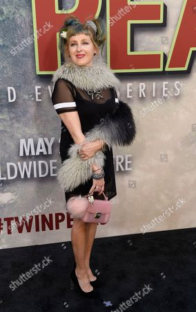 "Kimmy Robertson, a cast member in ""Twin Peaks,"" poses at the premiere of the Showtime series at The Theatre at Ace Hotel, in Los Angeles"