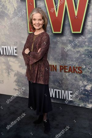 """Stock Photo of Grace Zabriskie, a cast member in """"Twin Peaks,"""" poses at the premiere of the Showtime series at The Theatre at Ace Hotel, in Los Angeles"""
