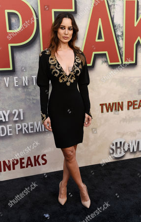 "Stock Picture of Berenice Marlohe, a cast member in ""Twin Peaks,"" poses at the premiere of the Showtime series at The Theatre at Ace Hotel, in Los Angeles"
