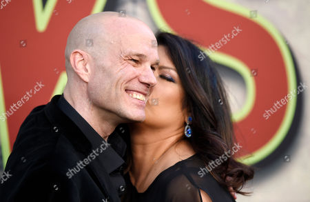 """Stock Image of James Marshall, a cast member in """"Twin Peaks,"""" gets a kiss from Rebekah Del Rio at the premiere of the Showtime series at The Theatre at Ace Hotel, in Los Angeles"""