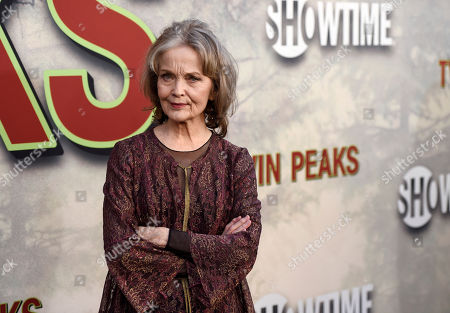 """Actress Grace Zabriskie poses at the premiere of the Showtime series """"Twin Peaks"""" at The Theatre at Ace Hotel, in Los Angeles"""