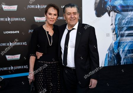 "Haim Saban, right, and Cheryl Saban arrive at the Los Angeles premiere of Saban's ""Power Rangers"" at the Regency Westwood Village Theatre on"