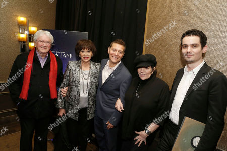 """Leslie Bricusse, Yvonne Romain, Michael Feinstein, Liza Minnelli and Writer/Director Damien Chazelle seen at Lionsgate """"La La Land"""" Special Screening Hosted by Liza Minnelli, in Beverly Hills, Calif"""