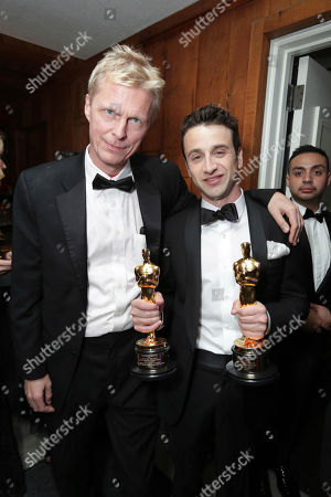 """Stock Photo of La La Land"""" Executive Music Producer Marius De Vries and Composer Justin Hurwitz seen at Lionsgate's Oscar Celebration, presented by Bulleit Frontier Whiskey at Soho House West Hollywood, in West Hollywood, Calif"""