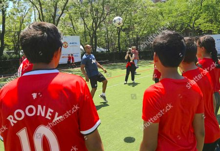 Manchester United Soccer School Coaches and Former Player, Quinton Fortune host a soccer school event with Matt Preschern, CMO of HCL Technologies at Asphalt Green on in New York
