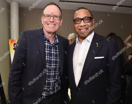 Jonathan Murray, left, and Hayma Washington, Chairman and CEO of the Television Academy, attend the Television Academy's sold out member event, Mike Darnell: Reality TV's Great Provocateur, at the Saban Media Center on in North Hollywood, Calif