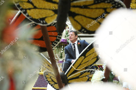 """Ty Pennington seen at Miracle-Gro's """"Everythings Coming Up Roses"""" float entry in the 128th Rose Parade. Float judging took place at Fiesta Parade Floats, in Irwindale, Calif"""