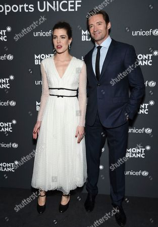 Princess Charlotte Casiraghi and actor Hugh Jackman attend the Montblanc for UNICEF Collection launch event at the New York Public Library, in New York