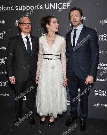 Montblanc CEO Nicolas Baretzki, left, Princess Charlotte Casiraghi and actor Hugh Jackman attend the Montblanc for UNICEF Collection launch event at the New York Public Library, in New York