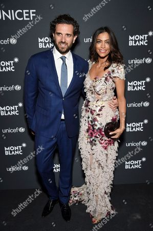 Sebastian Diamantoulis and Touriya Haoud attend the Montblanc for UNICEF Collection launch event at the New York Public Library, in New York
