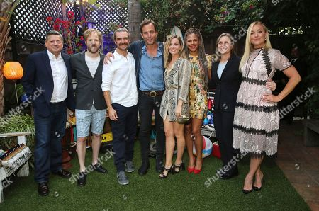 "Netflix Chief Content Officer Ted Sarandos, David Sullivan, George Basil, Will Arnett, Ruth Kearney, Lenora Crichlow, Netflix Vice President of Original Series Cindy Holland and Elisabeth Rohm seen at Netflix ""Flaked"" Season 2 special screening at Cinefamily, in West Hollywood, CA"