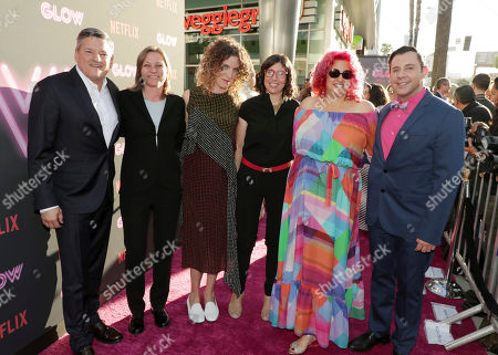 Netflix Chief Content Officer Ted Sarandos, Netflix VP Original Content Cindy Holland, Creator/Showrunner/Exec. Producer Carly Mensch, Creator/Showrunner/Exec. Producer Liz Flahive, Exec. Producer Jenji Kohan and Netflix Director Original Series Ted Biaselli seen at Netflix original series 'GLOW' Premiere at the Cinerama Dome, in Los Angeles, CA