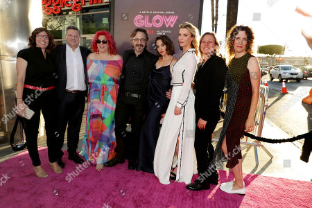 Creator/Showrunner/Exec. Producer Carly Mensch, Netflix Chief Content Officer Ted Sarandos, Exec. Producer Jenji Kohan, Marc Maron, Alison Brie, Betty Gilpin, Netflix VP Original Content Cindy Holland and Creator/Showrunner/Exec. Producer Liz Flahive seen at Netflix original series 'GLOW' Premiere at the Cinerama Dome, in Los Angeles, CA
