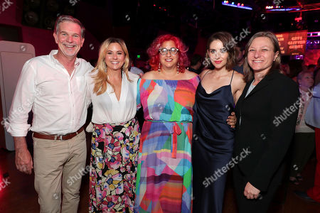Stock Photo of Netflix CEO Reed Hasting, Exec. Producer Tara Herrmann, Exec. Producer Jenji Kohan, Alison Brie and Netflix VP Original Content Cindy Holland seen at Netflix original series 'GLOW' Premiere Party, in Los Angeles, CA