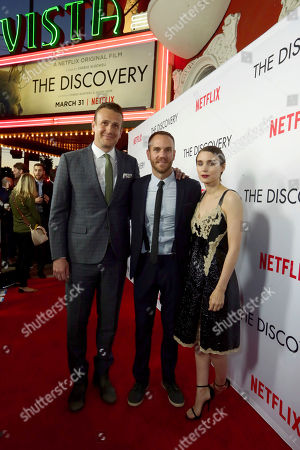 Jason Segel, Director/Writer Charlie McDowell and Rooney Mara seen at Netflix's The Discovery Premiere at Vista Theatre, in Los Angeles