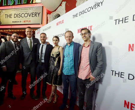 Stock Image of Writer Justin Lader, Jason Segel, Director/Writer Charlie McDowell, Rooney Mara, Ian Bricke, Netflix Director Of Global Film, and Matt Levin, Netflix Director of Content Acquisition, seen at Netflix's The Discovery Premiere at Vista Theatre, in Los Angeles