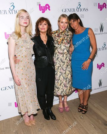 "Actresses Elle Fanning, from left, Susan Sarandon, Naomi Watts and director Gaby Dellal attend a special screening of ""3 Generations"", hosted by The Weinstein Company with The Cinema Society, at The Whitby Hotel, in New York"