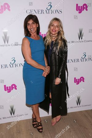 "Director Gaby Dellal, left, and actress Sienna Miller attend a special screening of ""3 Generations"", hosted by The Weinstein Company with The Cinema Society, at The Whitby Hotel, in New York"