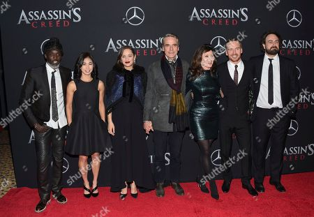 "Cast members, from left, Michael K. Williams, Michelle Lin, Marion Cotillard, Michael Fassbender, Essie Davis and Jeremy Irons attend a special screening of ""Assassin's Creed"" at AMC Empire 25, in New York"