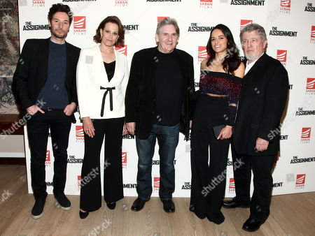 """Jonathan Saba, from left, Sigourney Weaver, Denis Hamill, Michelle Rodriguez and Walter Hill attend a special screening of """"The Assignment"""" at The Whitby Hotel, in New York"""