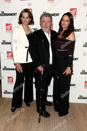 """Stock Photo of Sigourney Weaver, from left, Walter Hill and Michelle Rodriguez attend a special screening of """"The Assignment"""" at The Whitby Hotel, in New York"""