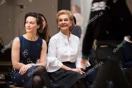 Stock Image of Emilie Rubinfeld, left and Carolina Herrera watch models rehearse before the Carolina Herrera show as part of NYFW Fall/Winter 2017 on in New York