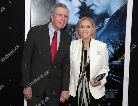 "Actress Eva Marie Saint, right, poses with her husband, writer/director/producer Jeffrey Hayden at the world premiere of ""Winter's Tale"" in New York. Hayden died at his Los Angeles home on Dec. 24, 2016. He was 90"