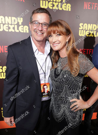 Stock Image of Producer Allen Covert and Jane Seymour seen at Los Angeles Premiere of Netflix original film 'Sandy Wexler' at Arclight Hollywood, in Los Angeles, Ca