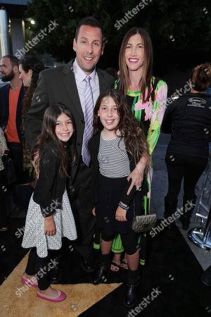 Sunny Madeline Sandler, Adam Sandler, Sadie Madison Sandler and Jackie Sandler seen at Los Angeles Premiere of Netflix original film 'Sandy Wexler' at Arclight Hollywood, in Los Angeles, Ca