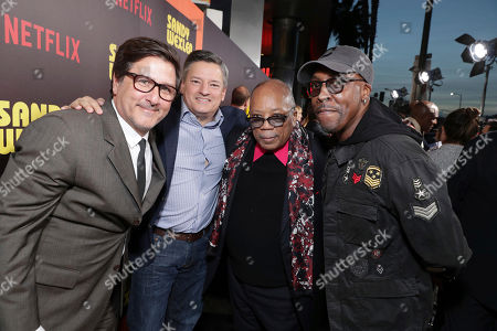 Director Steven Brill, Netflix Chief Content Officer Ted Sarandos, Quincy Jones and Arsenio Hall seen at Los Angeles Premiere of Netflix original film 'Sandy Wexler' at Arclight Hollywood, in Los Angeles, Ca