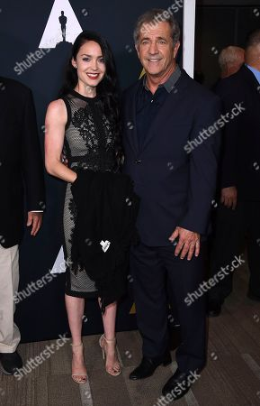 Rosalind Ross and Mel Gibson arrive at the Richard Donner Tribute on in Beverly Hills, Calif